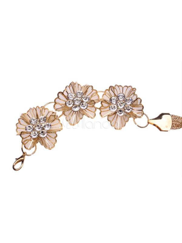 ceinture tendance femme avec fleurs et chaine dor e. Black Bedroom Furniture Sets. Home Design Ideas