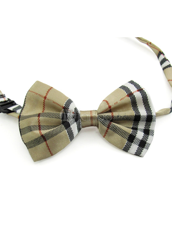 Vintage Plaid Pattern Polyester Bow Tie