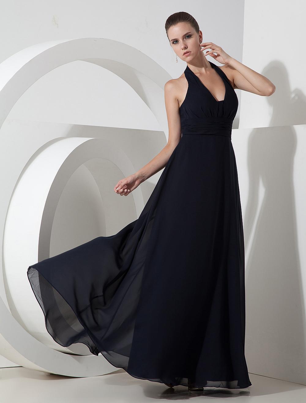 Elegant Dark Navy Blue Chiffon Halter Floor Length Evening Dress