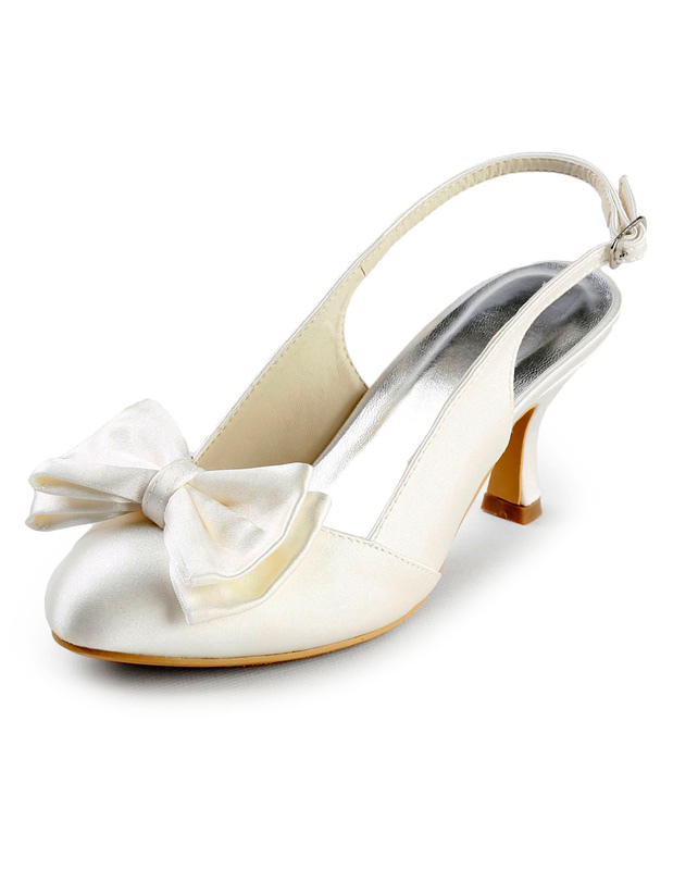 Buy Grace Ivory Satin Bow Slingback Bridal Sandals for $76.49 in Milanoo store