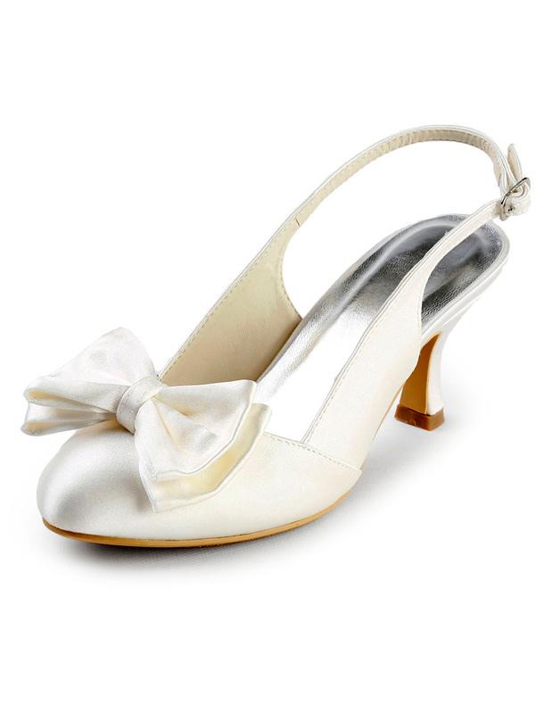 Grace Ivory Satin Bow Slingback Bridal Sandals