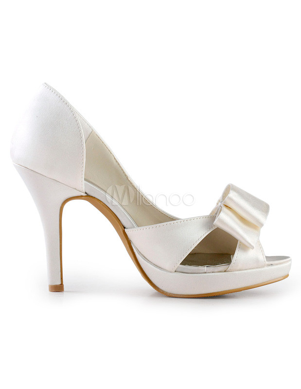 Grace Ivory Satin Peep Toe Bow Bridal Shoes - Milanoo.com c6e04faac