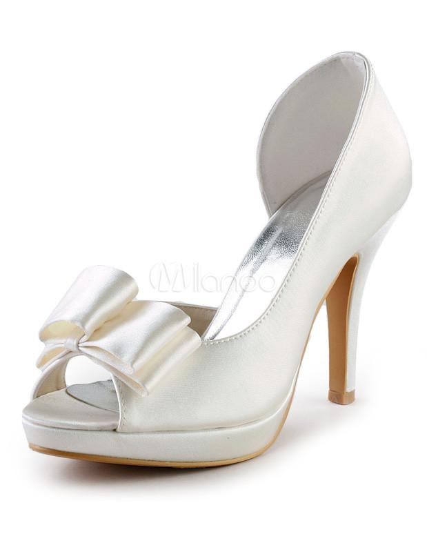 Grace Ivory Satin Peep Toe Bow Bridal Shoes