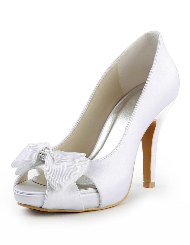 Scarpe Sposa Raso Bianco.Elegante Fiocco In Raso Bianco Peep Toe Scarpe Da Sposa Milanoo Com