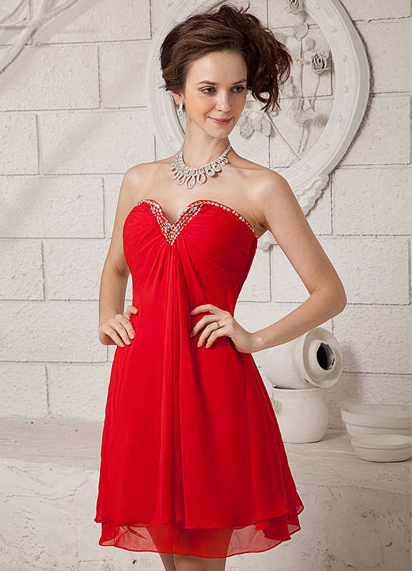 4618cf68105a Vestito da Cocktail rosso moderno in chiffon con collo a cuore e perline  -No.