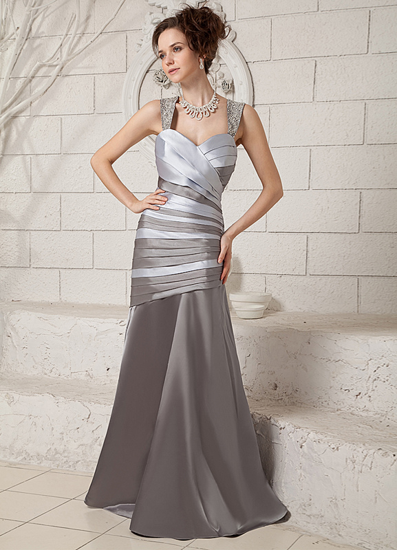 Silver Draped Bodice Sweetheart Mermaid Trumpet Evening Dress