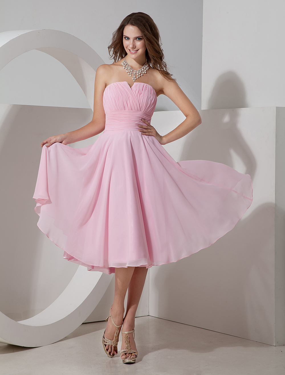 Blush Pink Strapless Pleated Chiffon Bridesmaid Dress