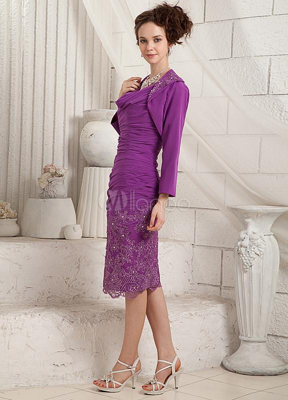 vestido para la madre de la novia de color morado de satén elástico