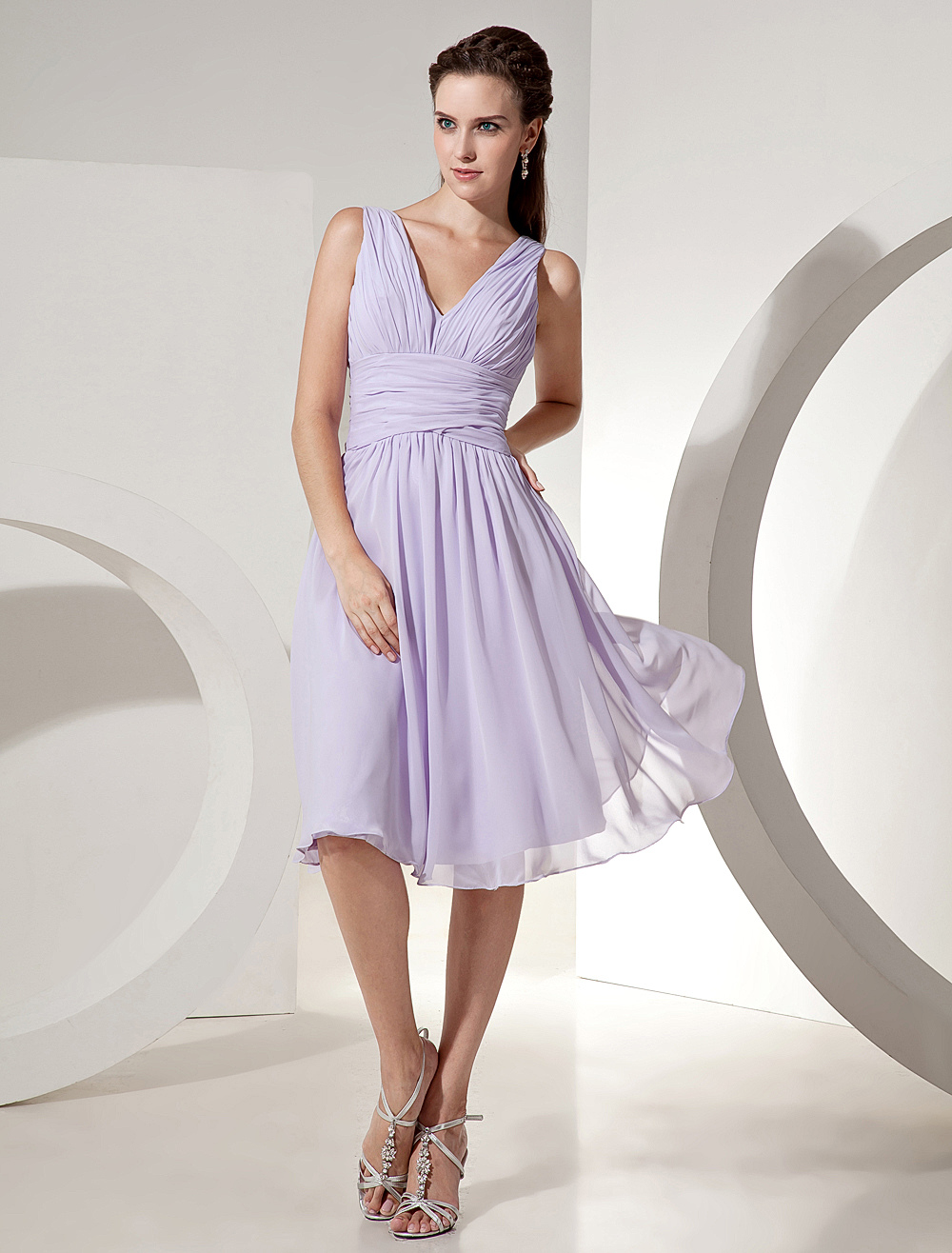 Lilac Bridesmaid Dress V Neck Ruched Chiffon A Line Knee Length Short Prom Dress