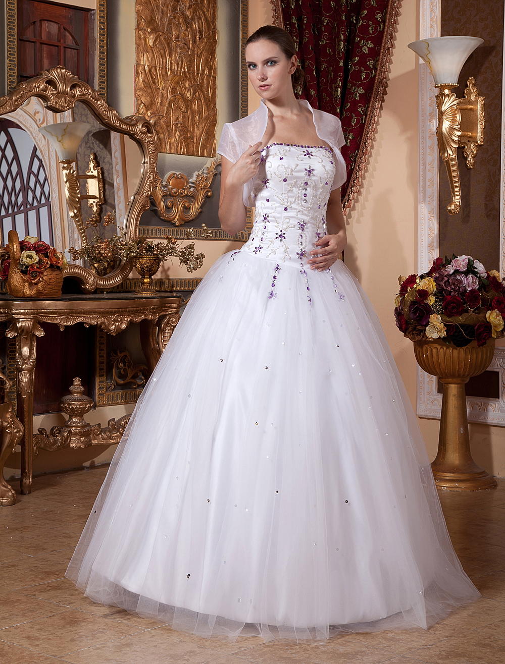 Buy White Wedding Dress Ball Gown Prom Dress Two Piece Rhinestones Beaded Strapless Quinceanera Dress With Jacket for $193.49 in Milanoo store