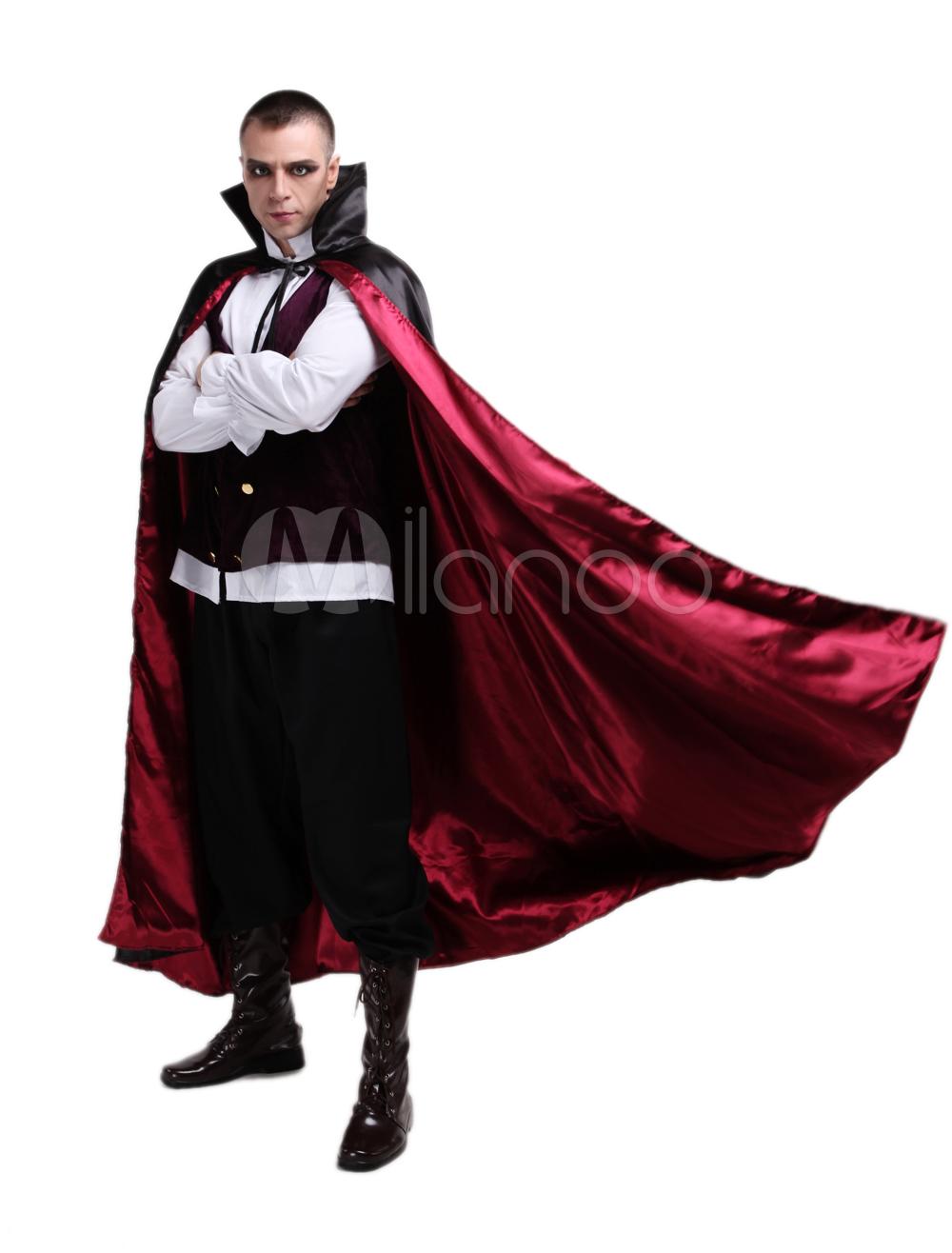 Adulti Nero Vampiro CAPPOTTO DA UOMO CONTE DRACULA COSTUME MANTELLO CAPE con code