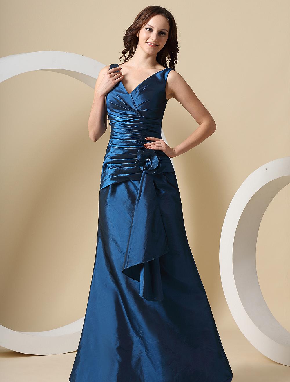 Mermaid Bridesmaid Dress Ink Blue V Neckline Ruched Flowers Taffeta Maxi Party Dress