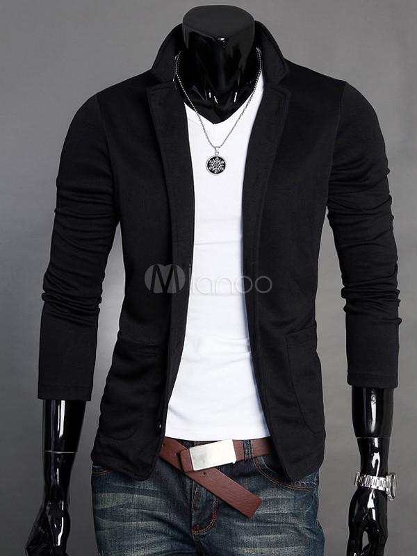De Col Montant Loisir Veste Slim Style En Homme Coton Noir Pour K3l1TJcFu