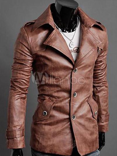 Cool Light Brown Buttons Long Sleeves PU Men's Jacket