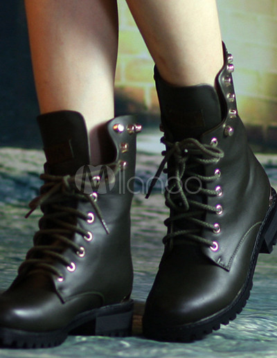 4c96395ff9 Stivali militari scuro verde lacci PU donna
