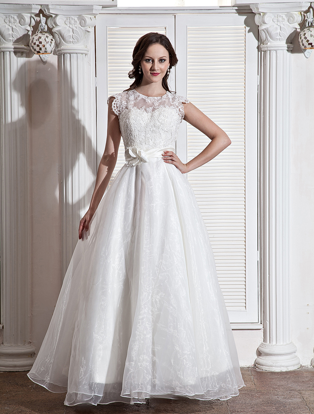 Chic Floor-Length White Wedding Dress For Bride with A-line Jewel Neck Sequin