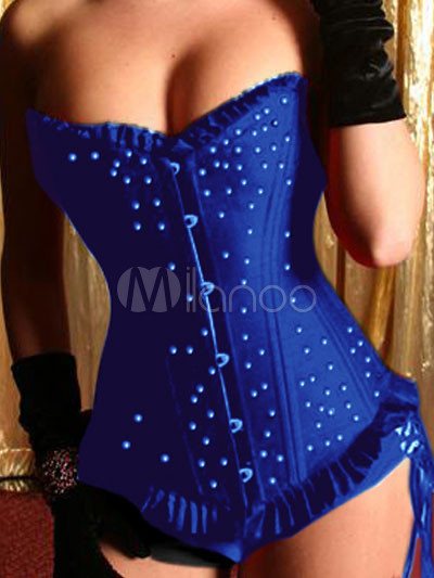 Elegant Blue Polka Dot Satin Front Button Women's Corsets