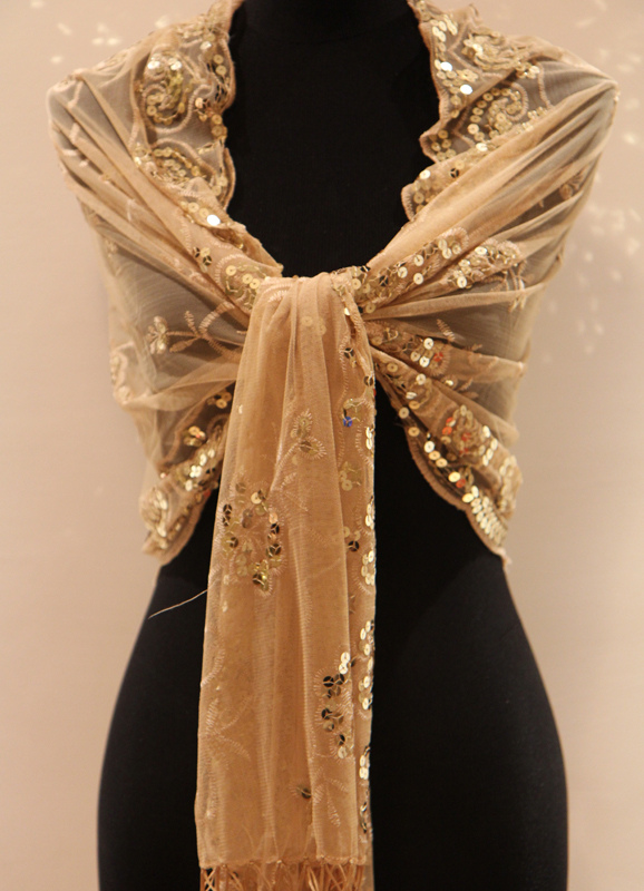 Gold Tassels Satin Polyester Bridal Wedding Shawl