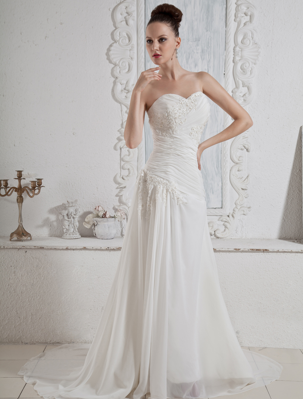 Ivory Satin Chiffon Wedding Dress With Sweep Train