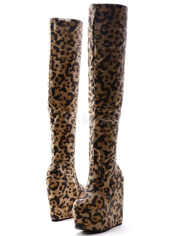 2d93ef13cfd Moderno café Leopard Print PU couro salto de cunha mulheres sobre as botas  de joelho- ...