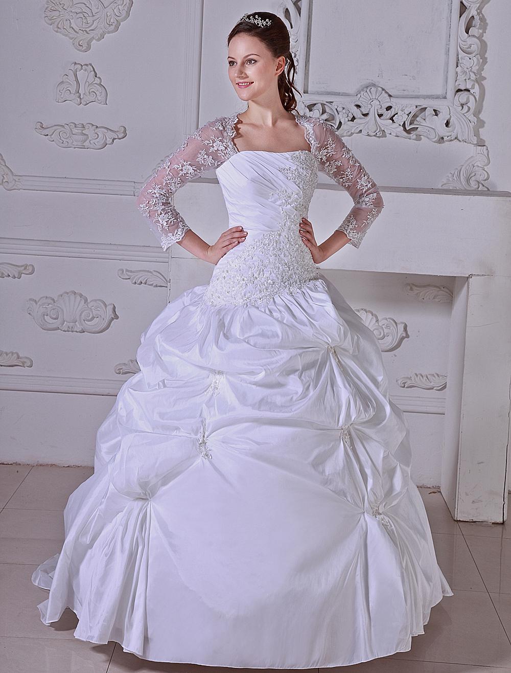 Milanoo / White Ball Gown Pleated Taffeta Wedding Dress