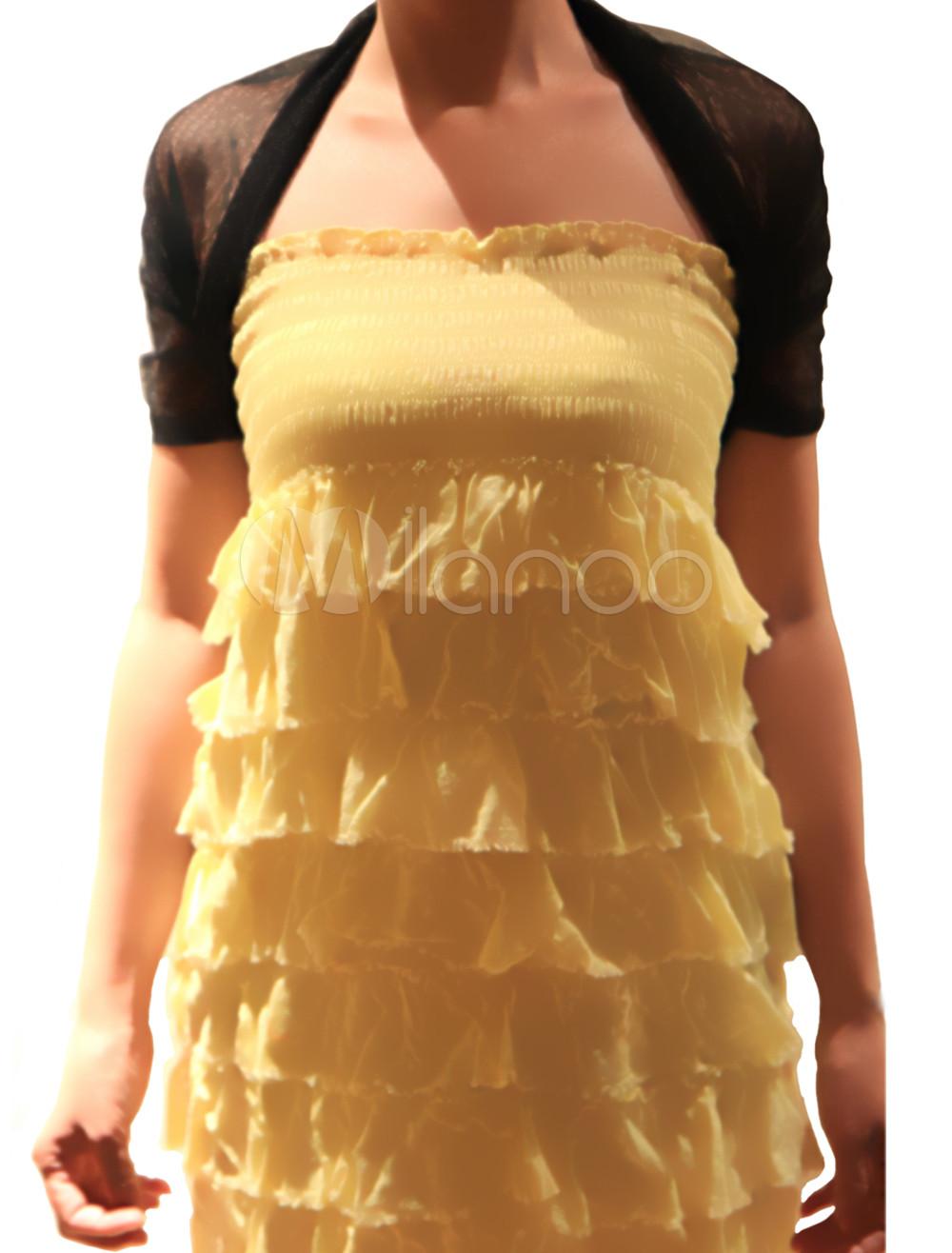 Semi-sheer Black Pleated Short Sleeve Wedding Shawl