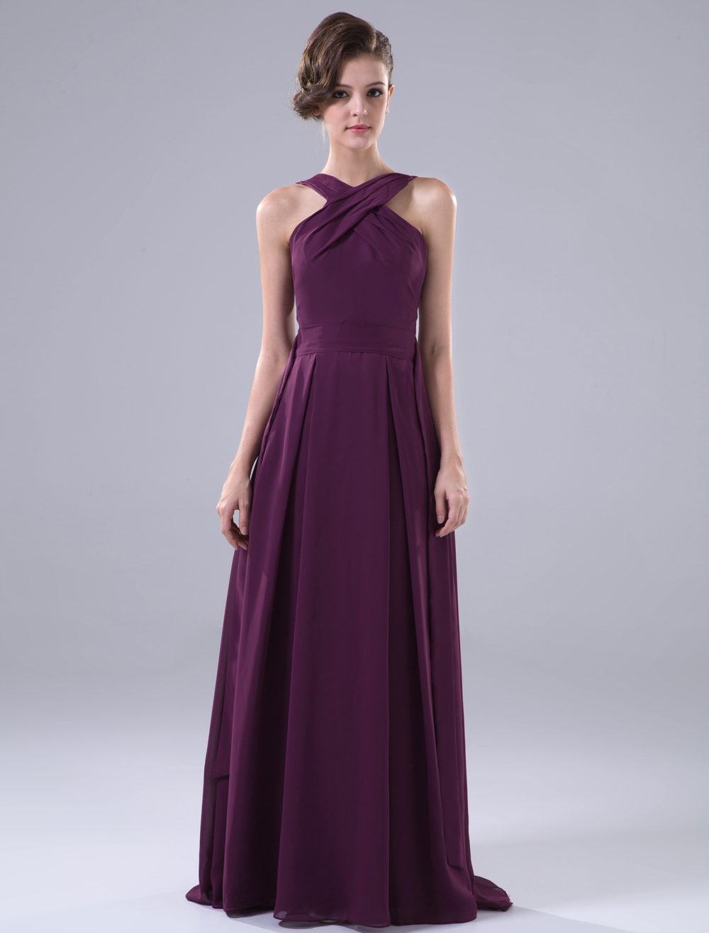 Pretty Floor-Length Halter A-line Purple Bridesmaid Dress