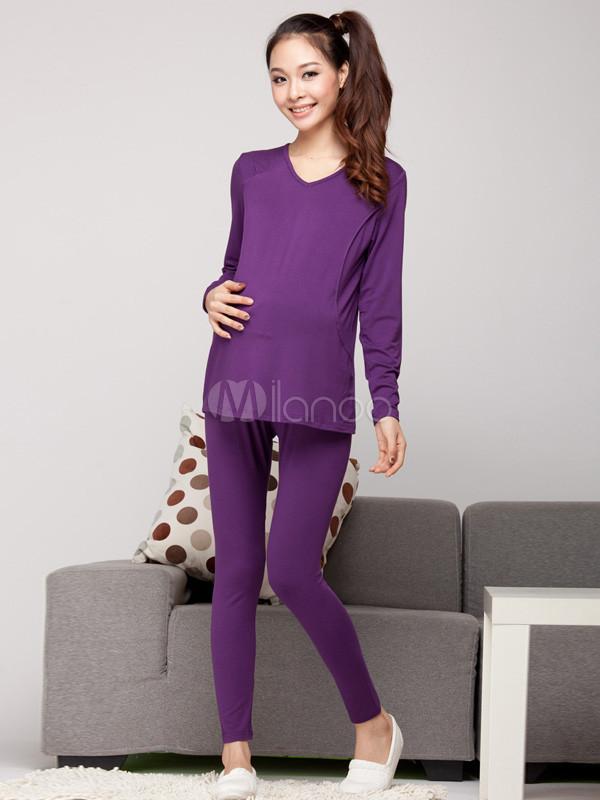 Conjunto de ropa elegante púrpura mezcla V-cuello maternidad ...