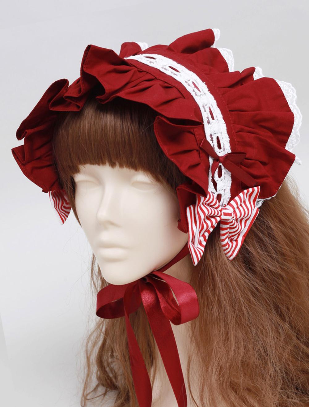 Red Ruffles Cotton Lovely Lolita Headdress