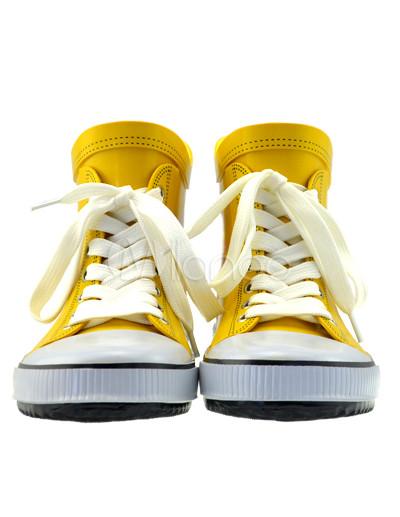 Bottes de pluie jaunes en plastique à lacets avec impression
