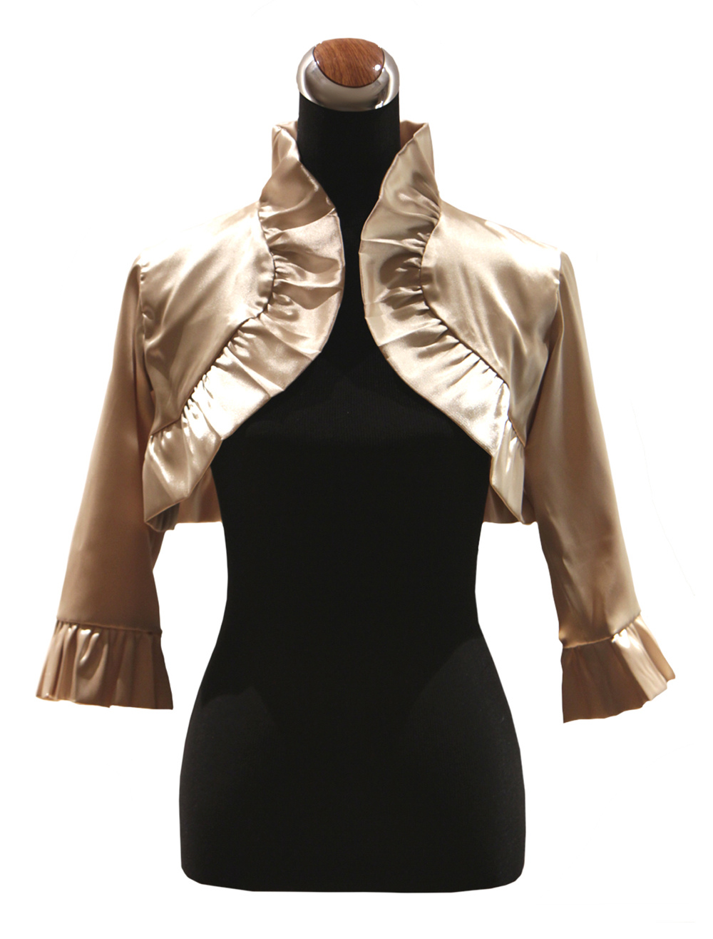 Buy Champagne Cascading Ruffle Matte Satin Wedding Shawl for Bride for $20.29 in Milanoo store