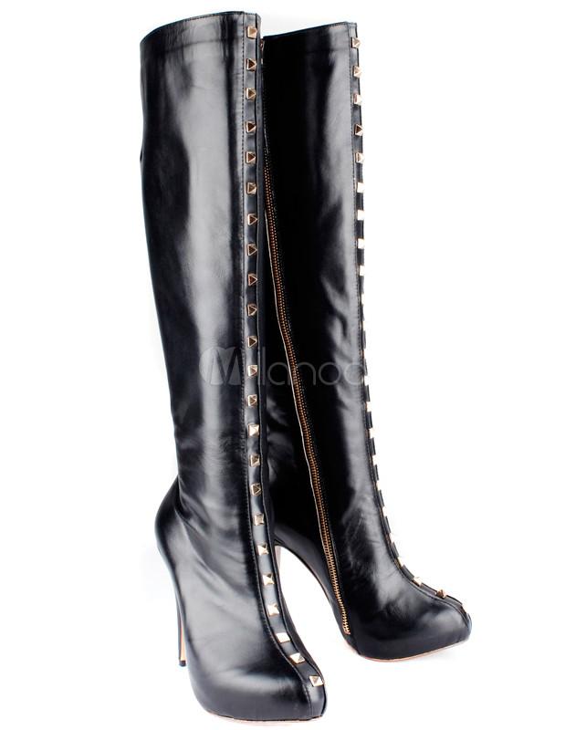 schwarze damen stiefel aus rindleder mit ziernieten und rei verschluss. Black Bedroom Furniture Sets. Home Design Ideas