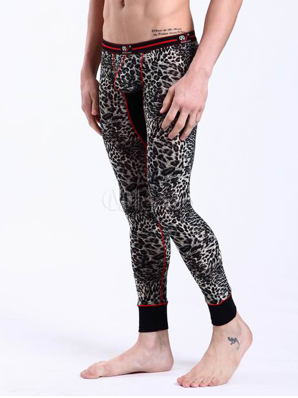 Homme Imprimé Pantalon Moulant Léopard Polyester Noir Sous EnaqpBnyc
