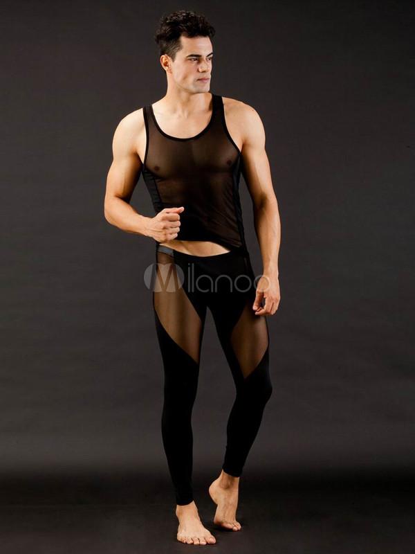 Sexy Semi-sheer Black Spandex Mens Undershirt - Milanoo.com