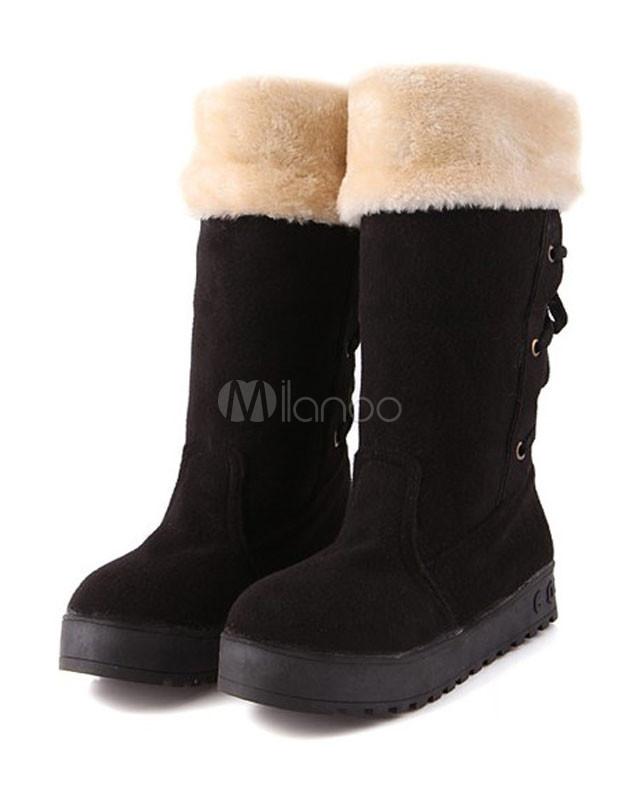 scarpe di separazione cc2a2 a1fef Stivali da neve dolce lacci peloso Platform Nubuck di donna