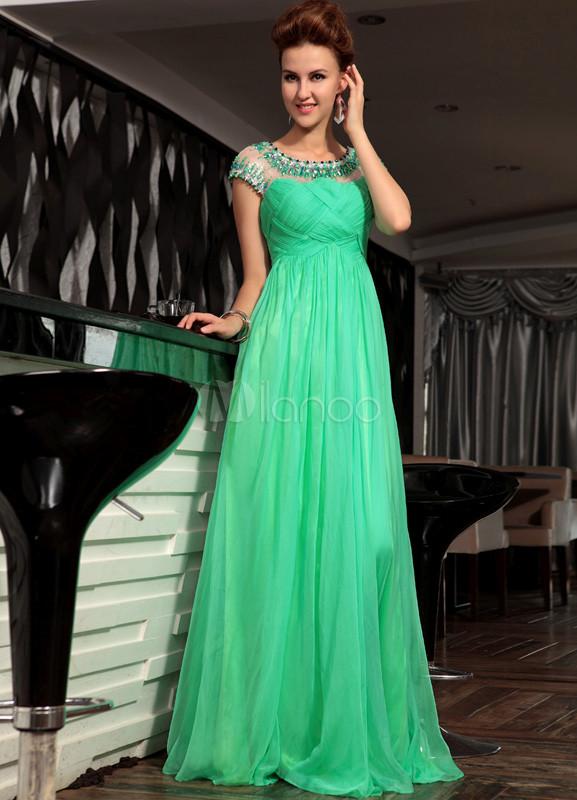 sale retailer 1404c c61b1 Vestito verde elegante in chiffon con perline