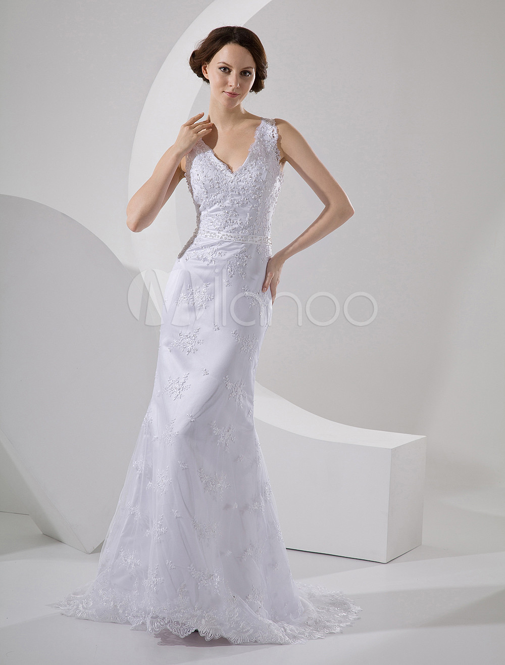 Buy Lace Grace Sheath V-Neck Embroidery Satin Wedding Dress for $208.24 in Milanoo store