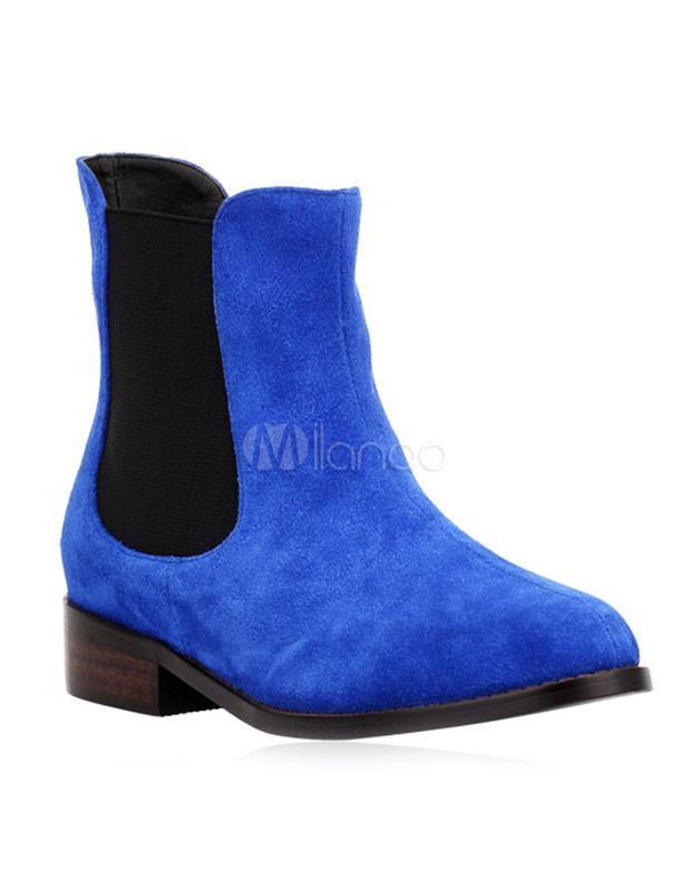 ... Bottine femme élastique en cuir poncé bleu royal -No.2 ...