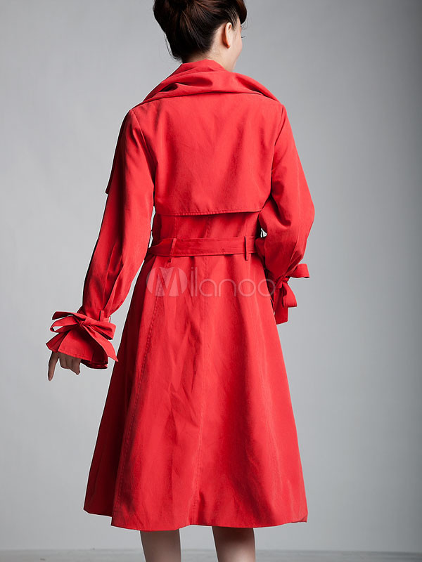 red sash double breasted silk woman 39 s trench coat. Black Bedroom Furniture Sets. Home Design Ideas