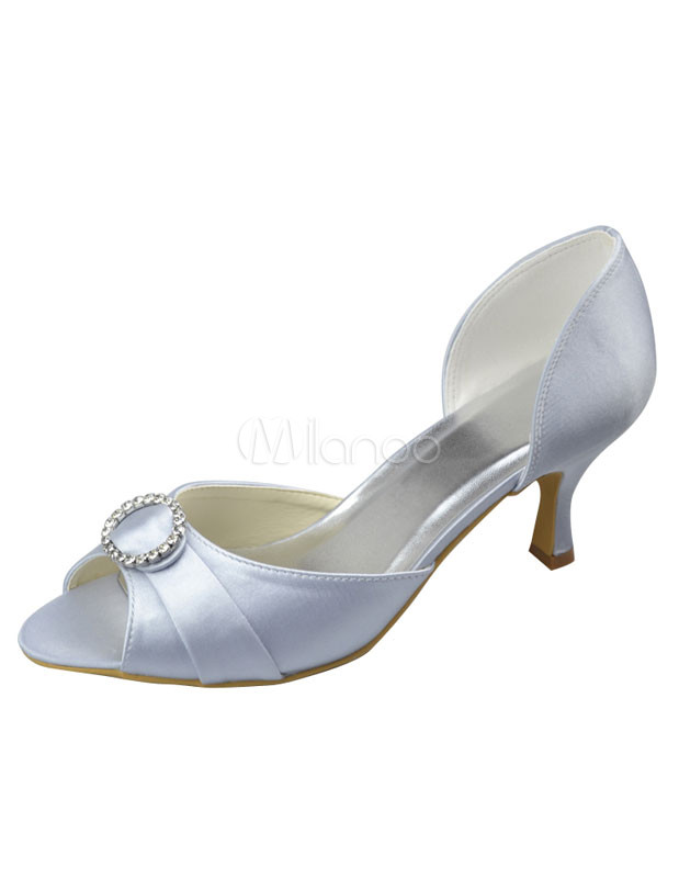 Buy Silver Peep Toe Rhinestone Satin Bridal Wedding Shoes for $64.59 in Milanoo store