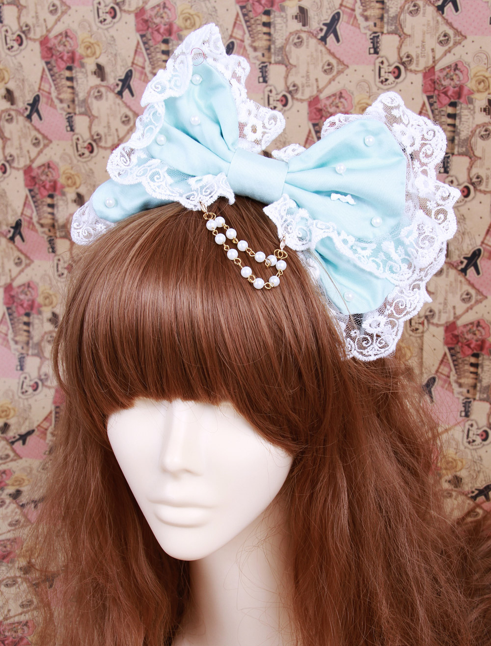 Buy Big Bow Light Green Cotton Lolita Headdress for $18.19 in Milanoo store