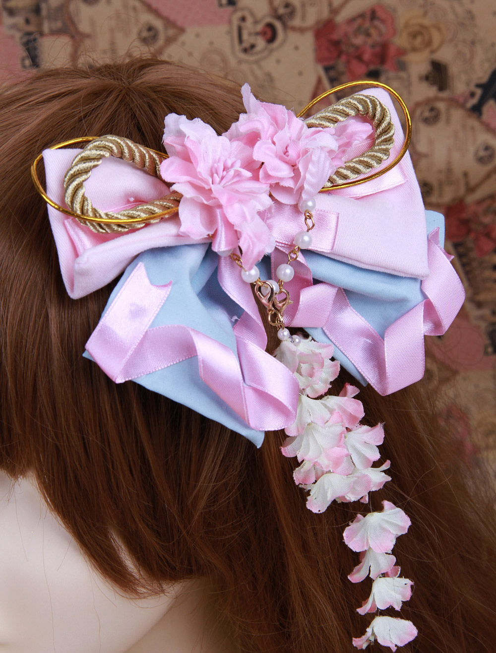Buy Pink Purple Cotton Bow Lolita Headdress for $18.39 in Milanoo store