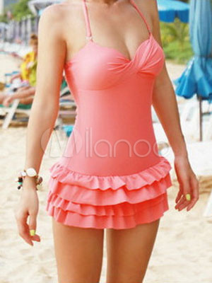 cute pink polyester pleated women 39 s swim dress. Black Bedroom Furniture Sets. Home Design Ideas