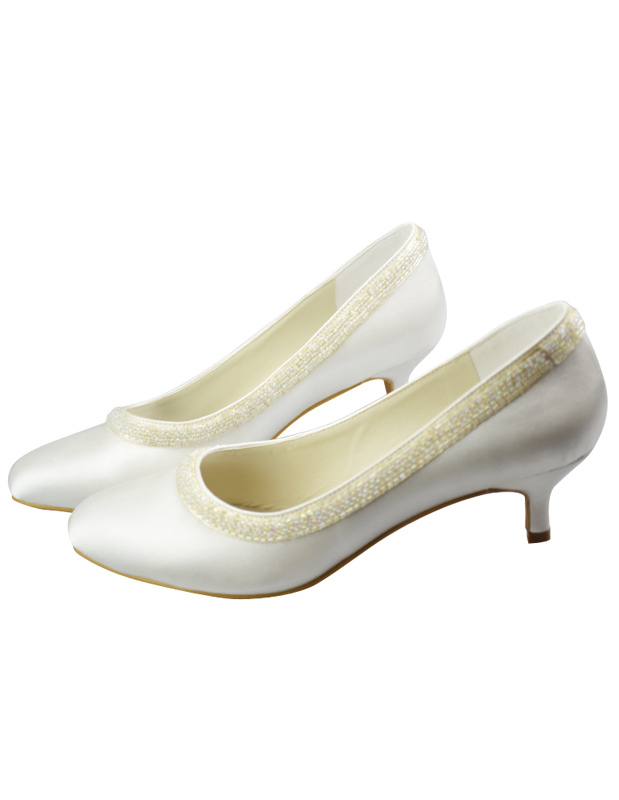 Concise Ivory Silk And Satin Wedding Bridal Shoes