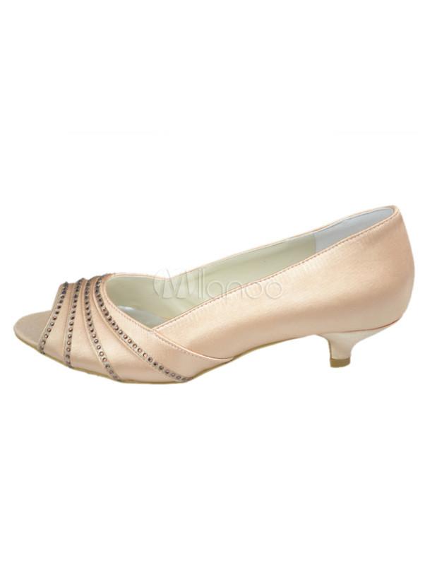 Low Heel Champagne Rhinestone Peep Toe Silk And Satin Wedding Bridal Shoes No3