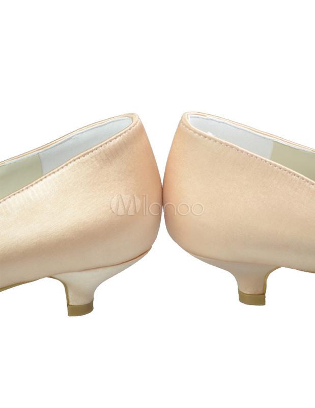 Low Heel Champagne Rhinestone Peep Toe Silk And Satin Wedding Bridal Shoes No5