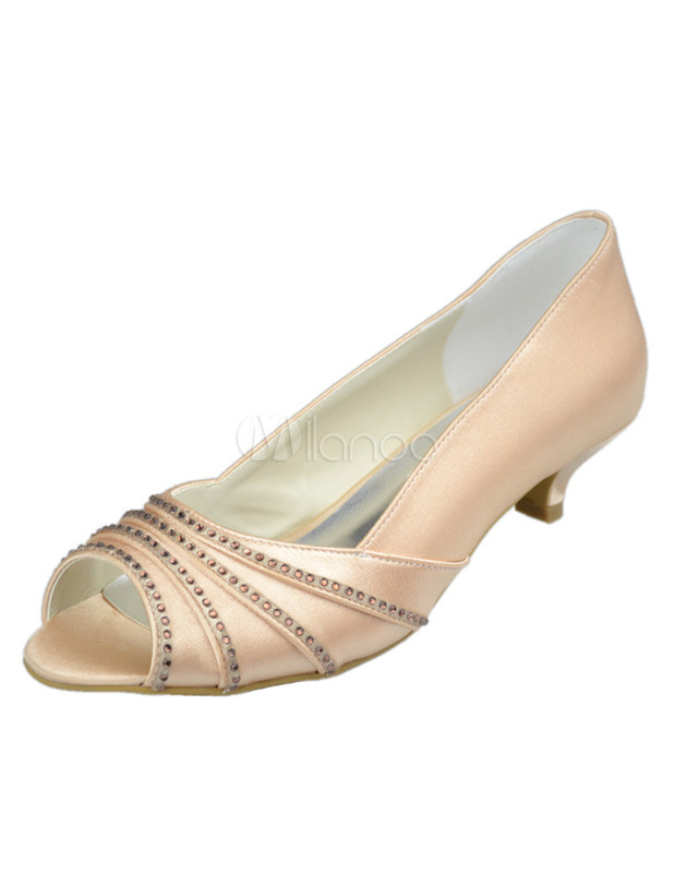 Low Heel Champagne Rhinestone Peep Toe Silk And Satin Wedding Bridal Shoes No2
