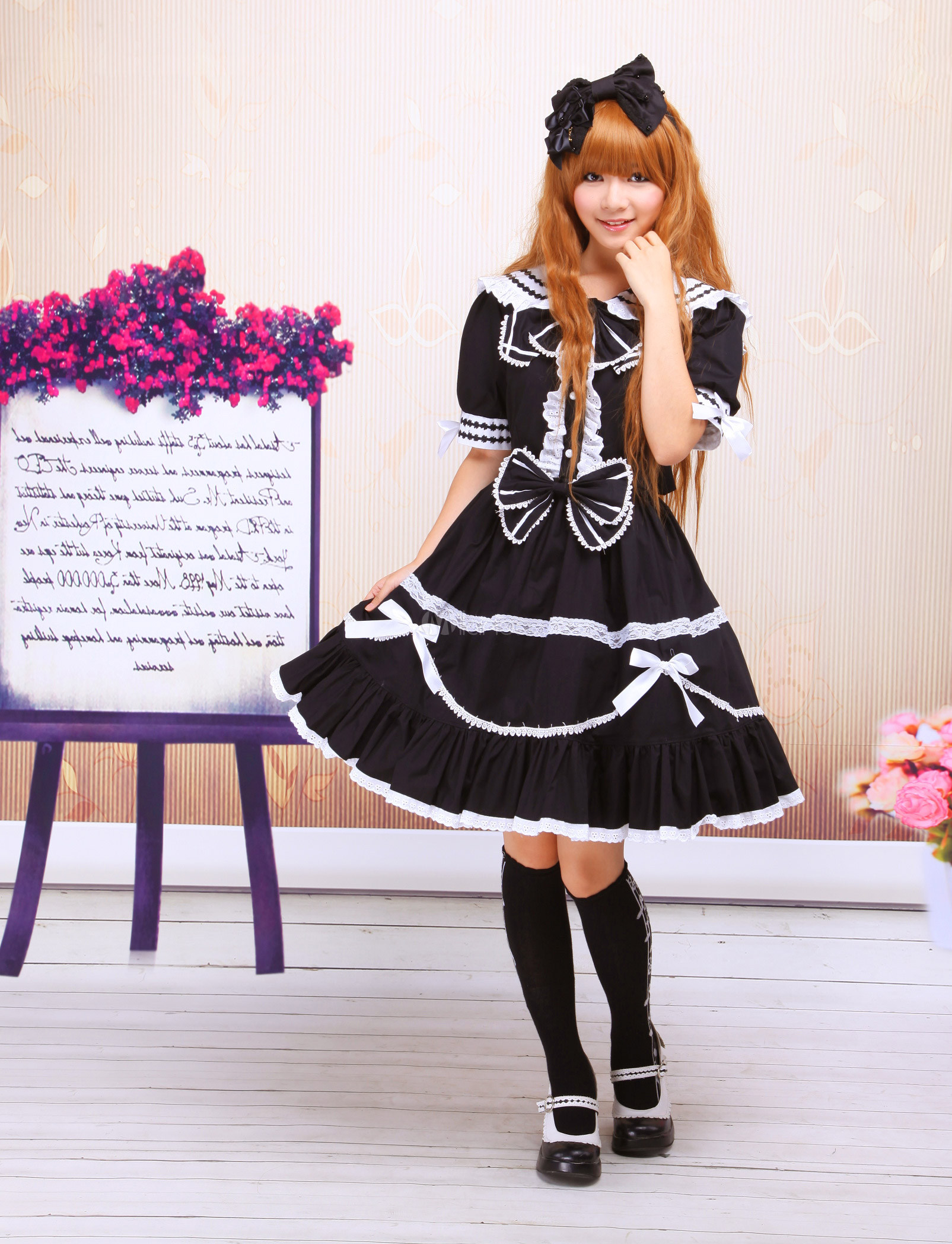 Buy Classic Black Short Sleeve Cotton Bow Lolita Dress for $84.59 in Milanoo store
