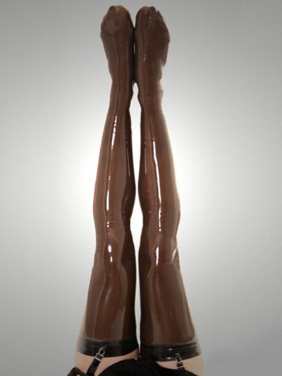 Halloween Fashion Pure Coffee Latex Women's Stockings Halloween
