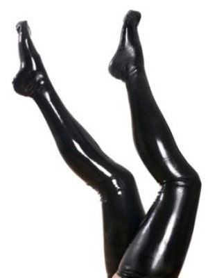 Halloween Pure Black Latex Women's Stockings Halloween